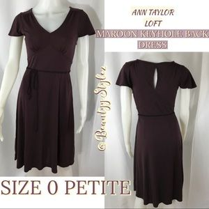Ann Taylor Maroon Purple Key Hole Back Dress 0 P